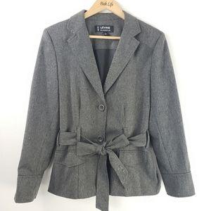 Levine Grey Herringbone Suit Blazer Size 14
